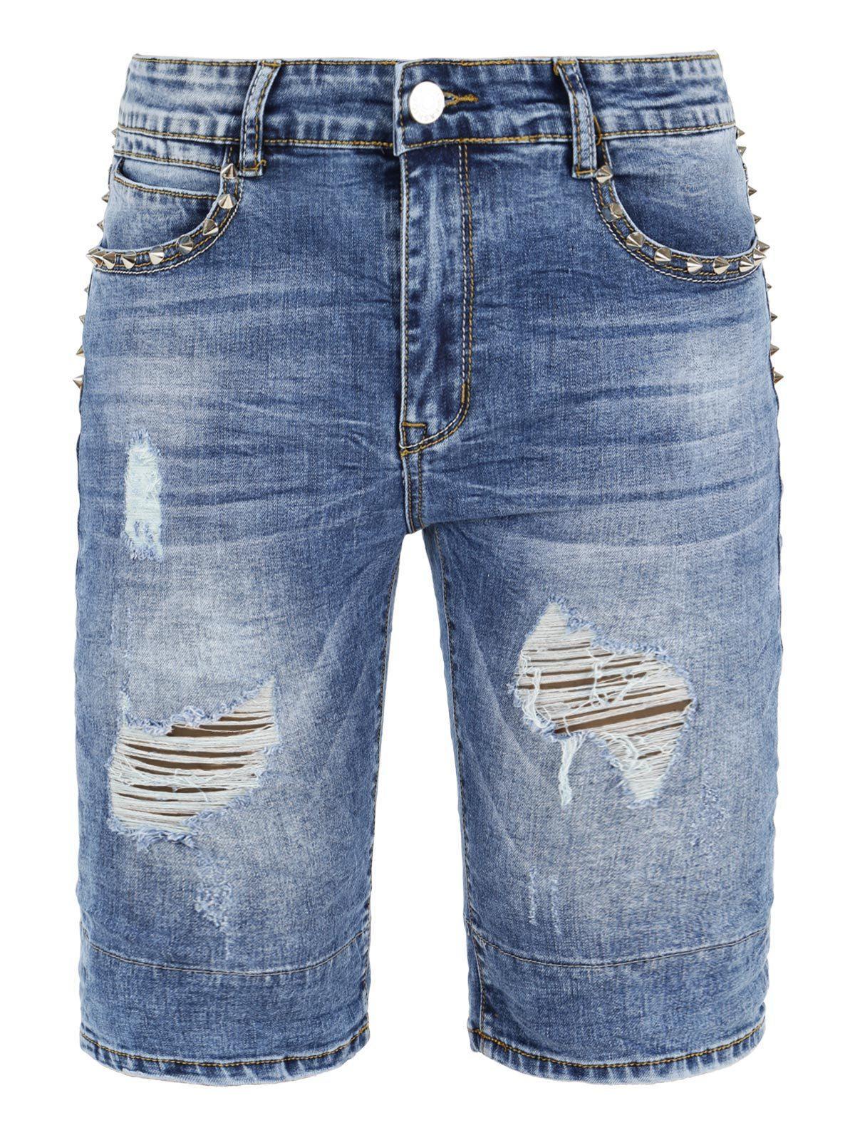 jeans corto slavato strappi