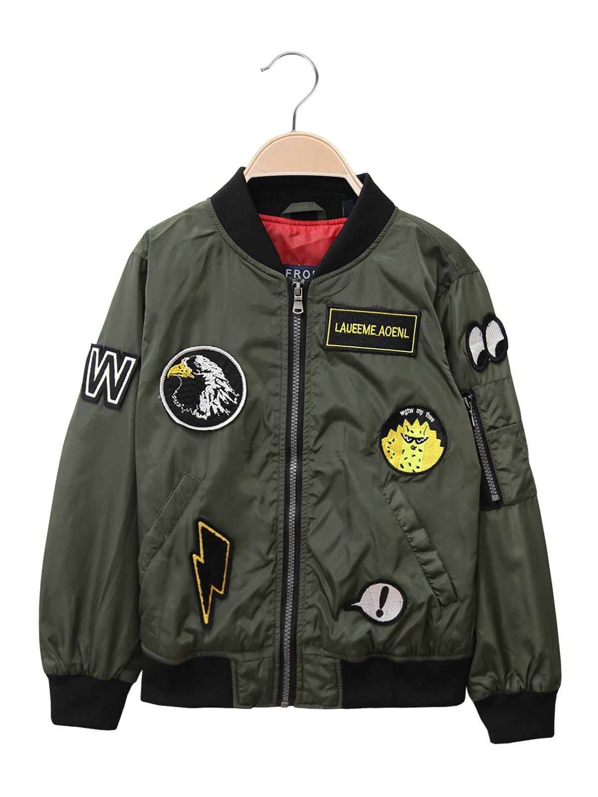 detailed look bfc58 452f9 Bomber verde militare con toppe small gang | MecShopping