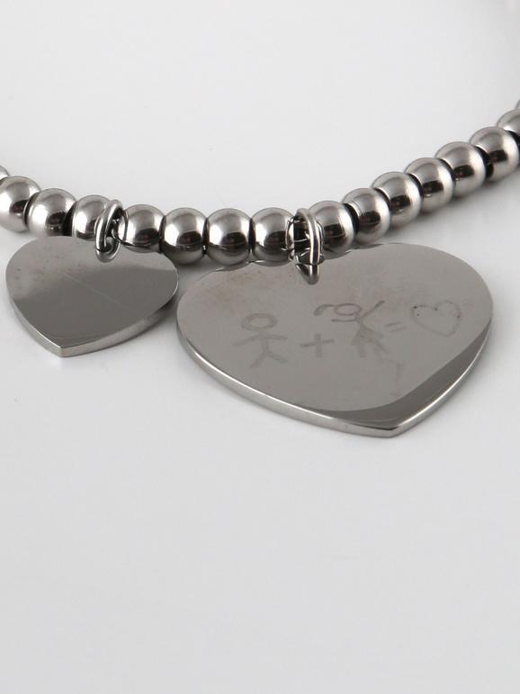 Braccialetto con cuori e perline argento