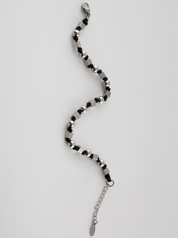 Braccialetto di corda con perle argento