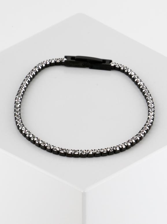 Braccialetto in acciaio nero con strass