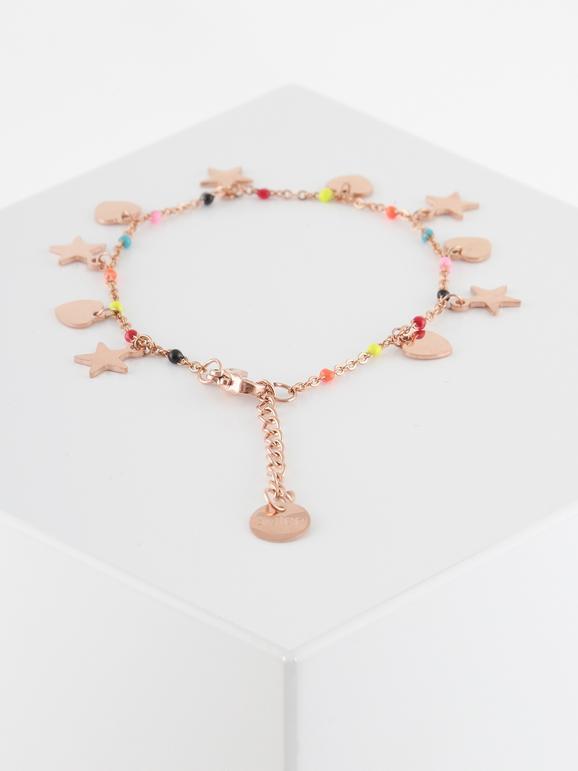 Braccialetto oro rosa con cuori e stelle