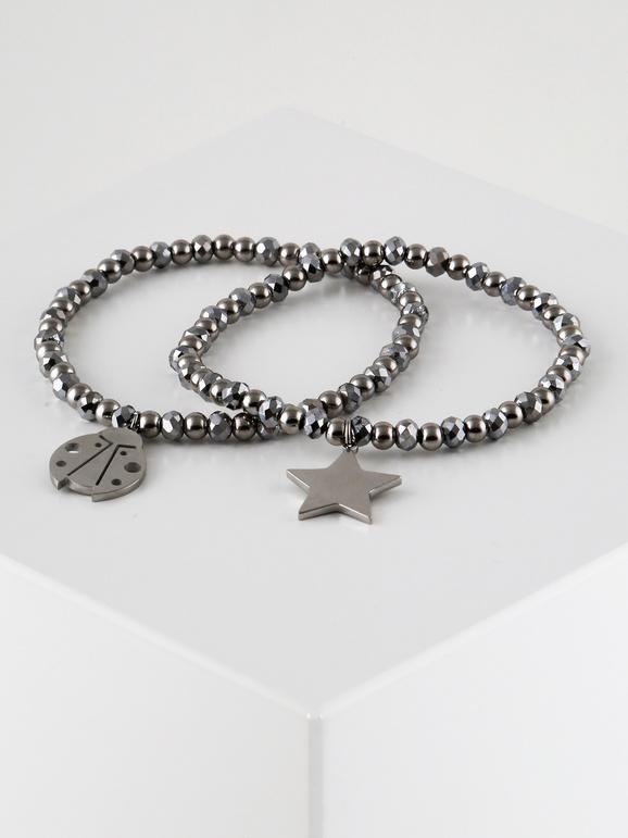 Bracciali elastici con stella e coccinella - 2 pezzi