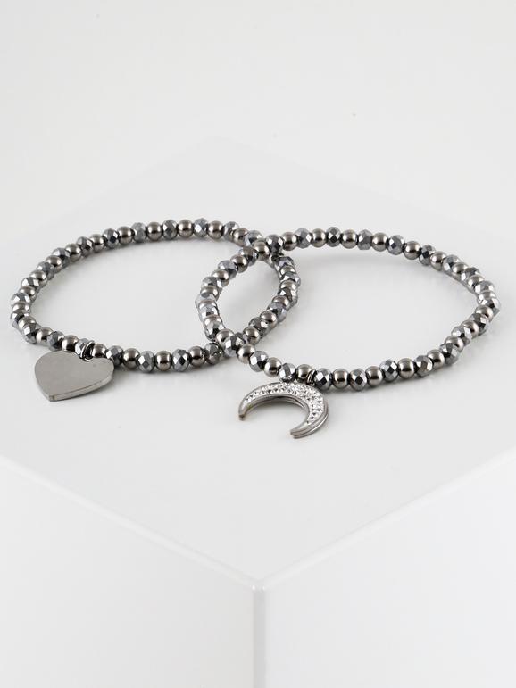 Bracciali elasticizzati con cuore e luna - 2 pezzi