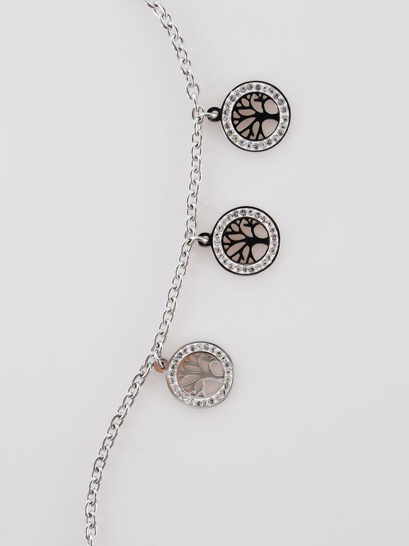 Bracelet avec pendentifs et strass - couleur unie
