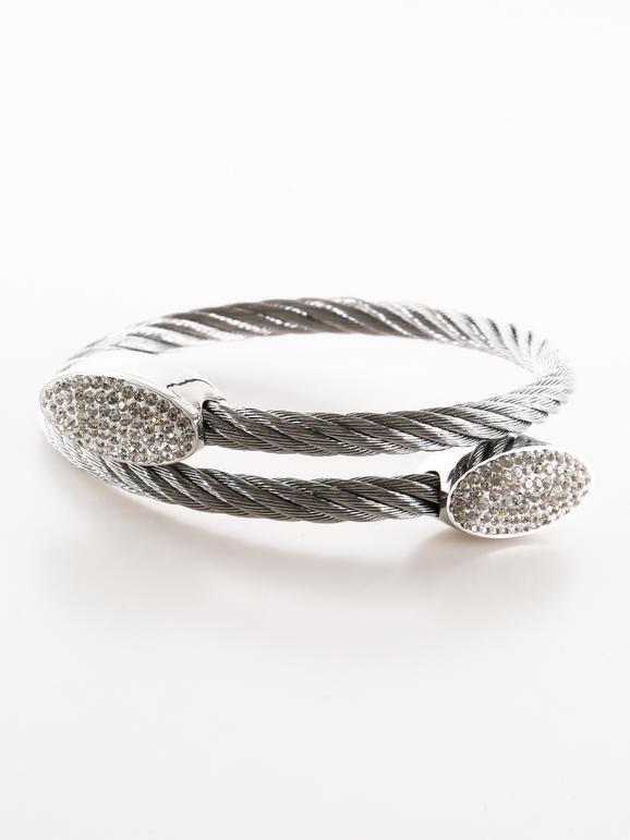 Bracelet tressé avec strass - couleur unie