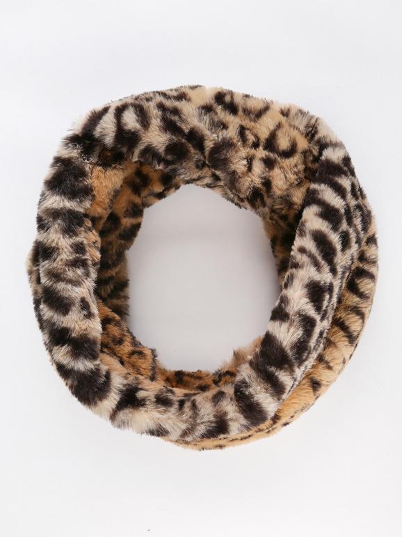 Cache-cou en similicuir léopard