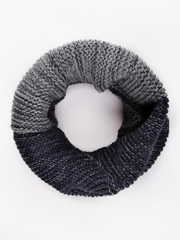 Cache-cou en tricot bicolore
