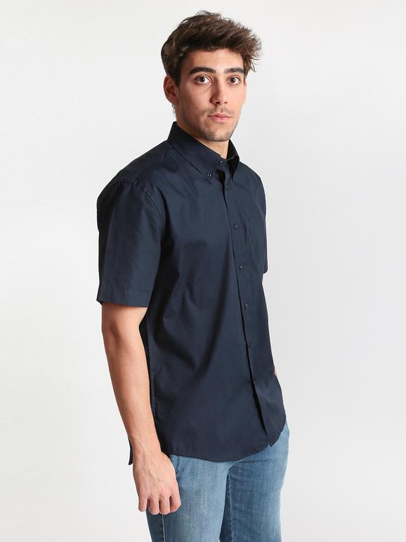 low priced 0c67b 8836b Camicia blu a maniche corte in cotone mrhope | MecShopping