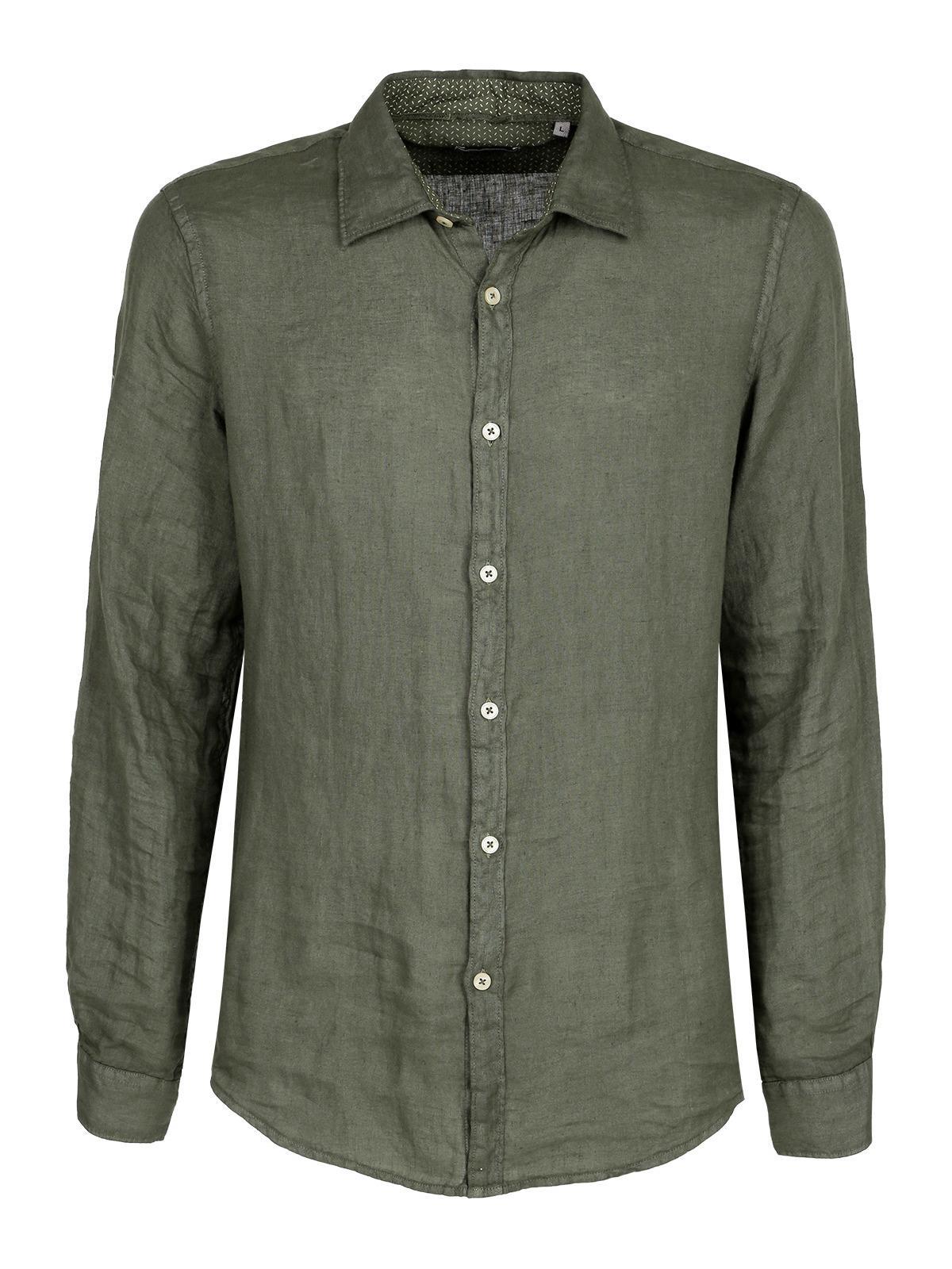 info for b3409 b9580 Camicia di lino a maniche lunghe - verde b-style | MecShopping