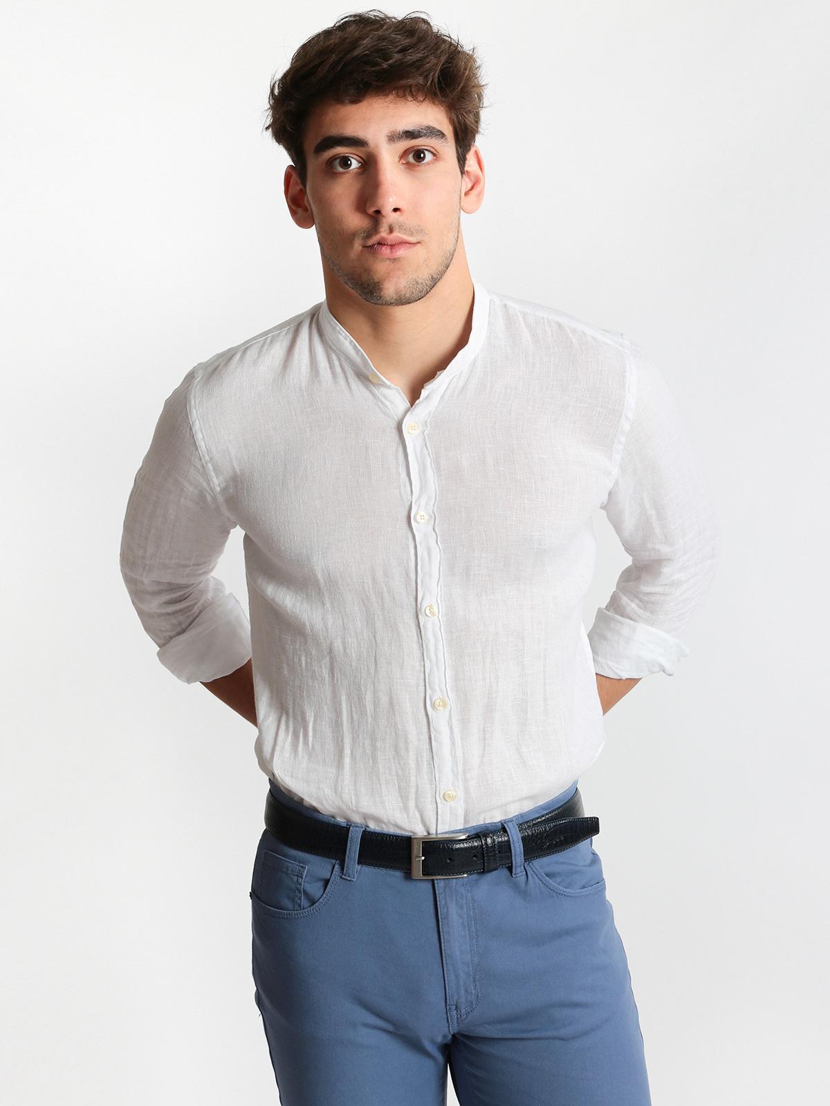 nuovo prodotto 8cd83 88c7b Camicia di lino bianca con collo coreano b-style | MecShopping