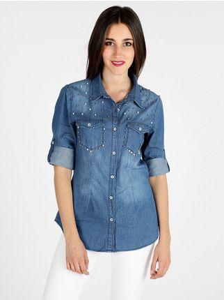 Camicia di jeans con ricami floreali ghiaccio&limone