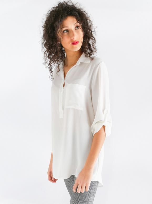 size 40 763b3 c9a0f Camicia lunga con pizzo dietro new collection | MecShopping