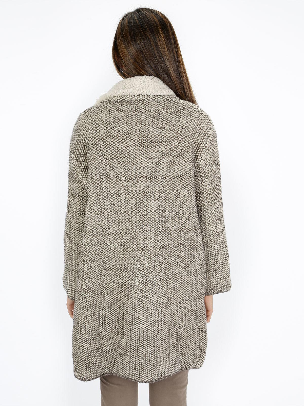 Cappotto in maglia foderato di pelo solada | MecShopping