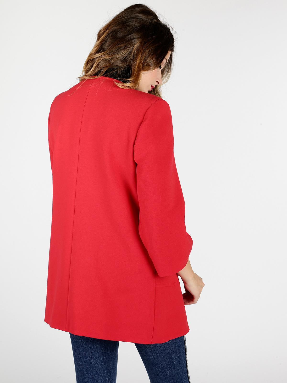 Cappotto rosso con cerniera graffio   MecShopping