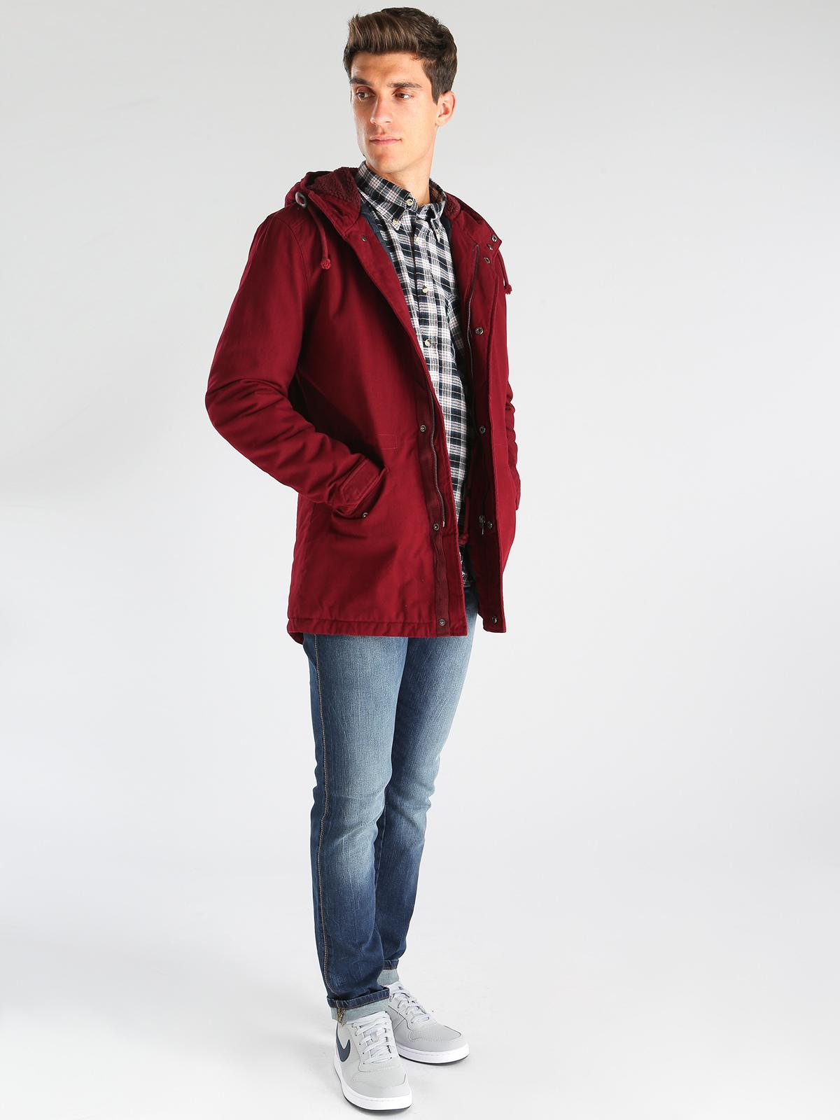 Cappotto sportivo in cotone con cappuccio cranberry