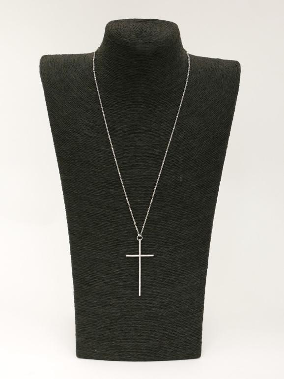 Collana con croce e strass