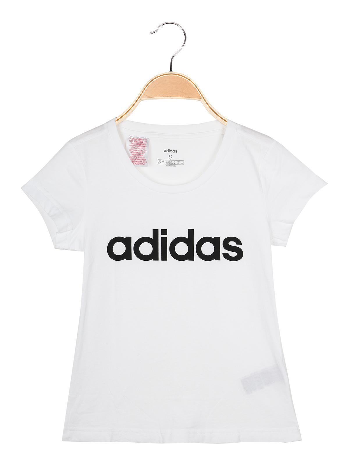 Essentials lineat logo t shirt bianca con stampa adidas