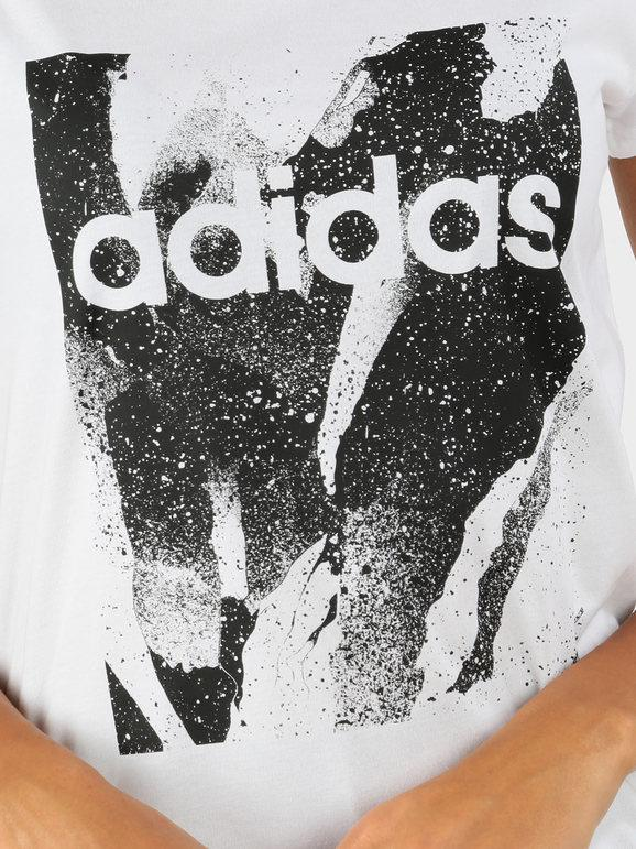 Essentials season T shirt bianca con disegno adidas