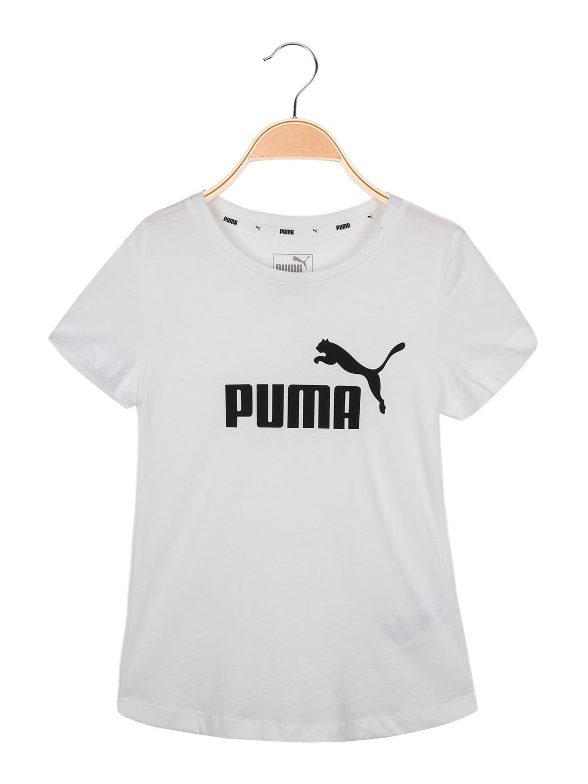 Essentials Tee T shirt bianca in cotone con stampa puma