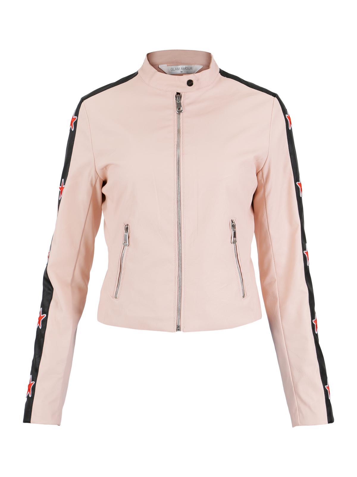 Abbracci Women Motorcycle White Faux Leather Jacket
