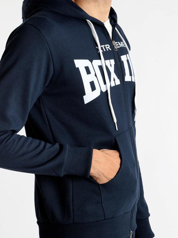 Felpa blu con cappuccio e zip xtreme boxing | MecShopping