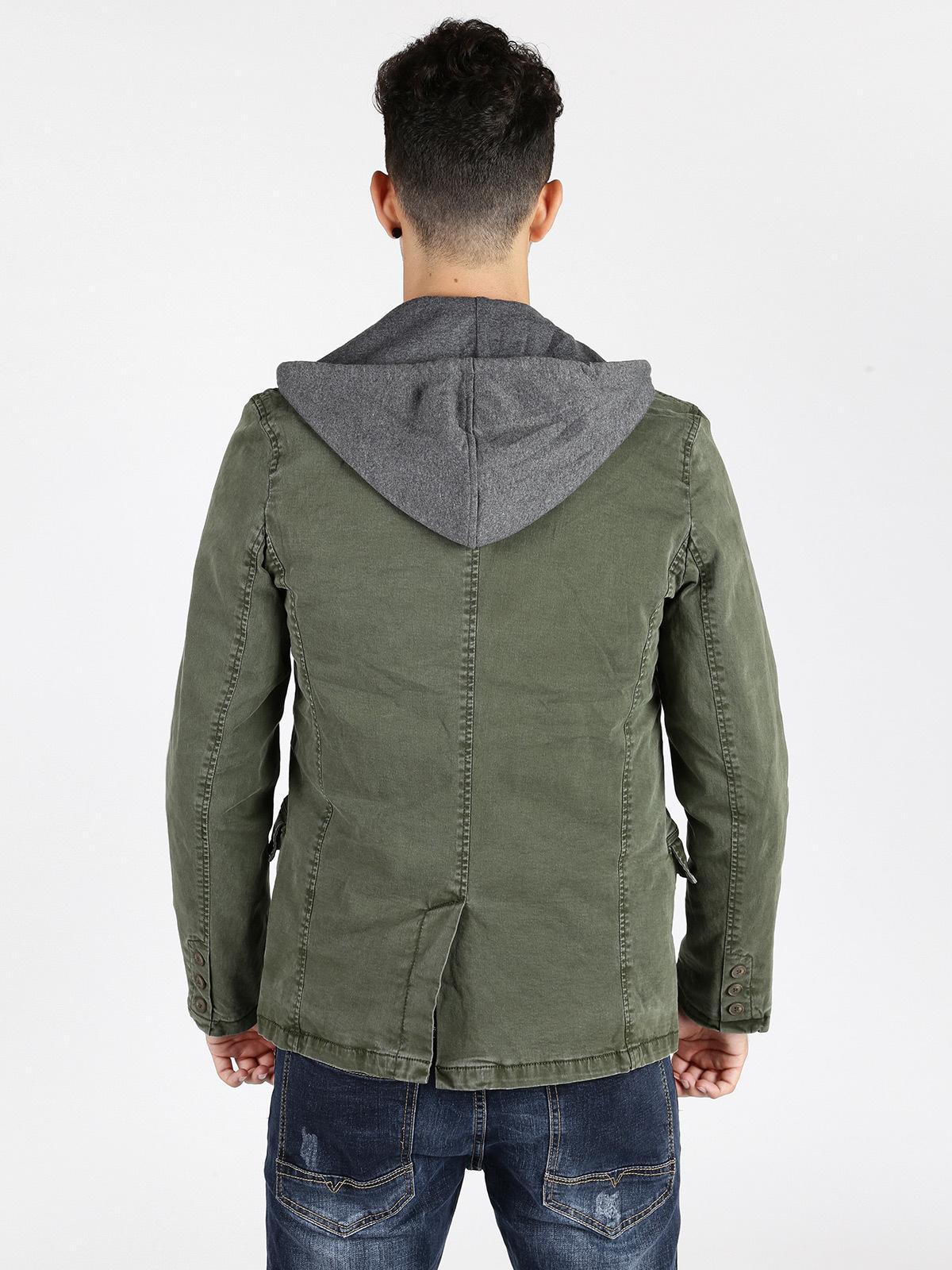 wholesale dealer d7f0a 780f8 Giacca con cappuccio in felpa verde militare x-three ...