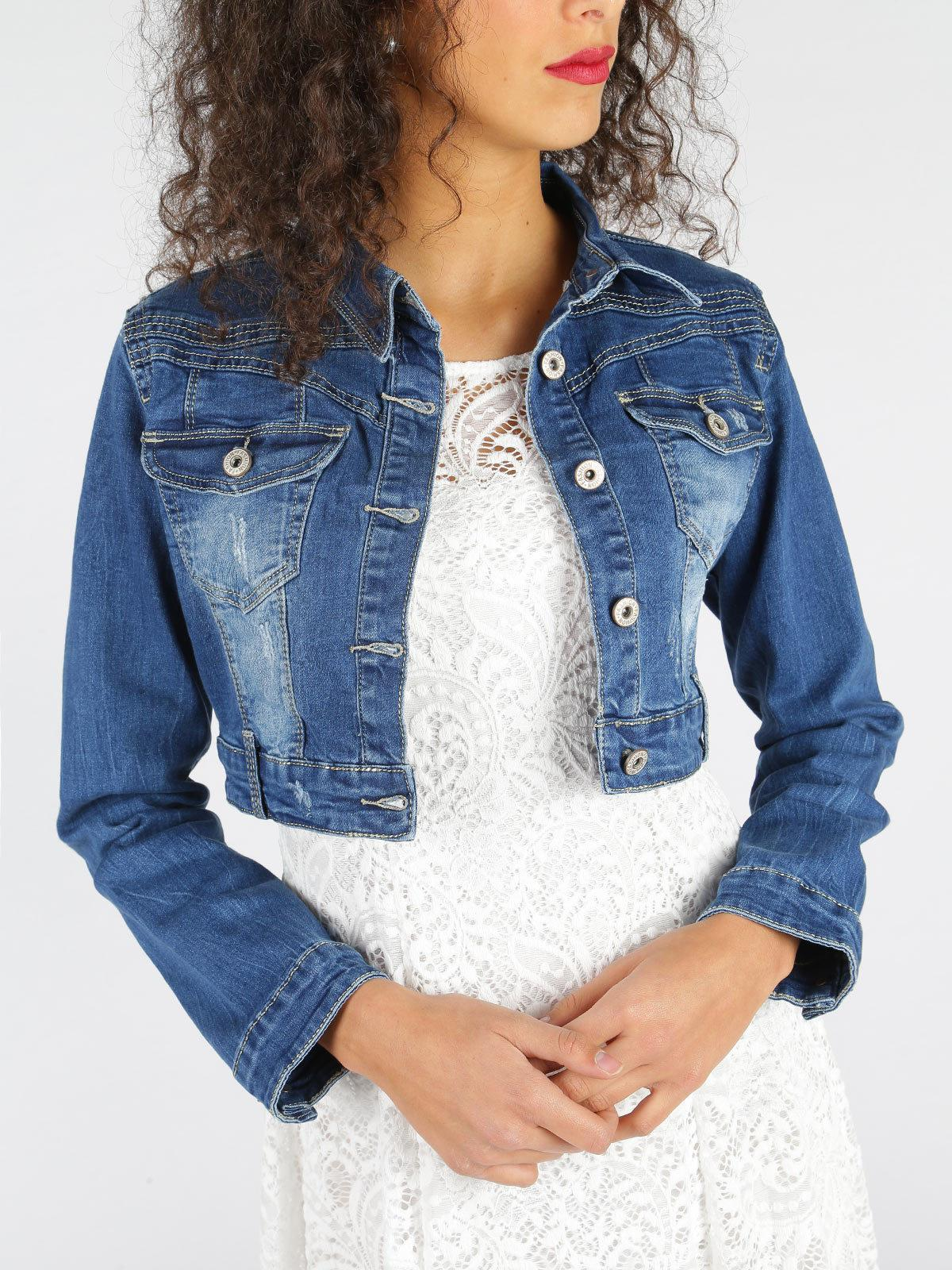 Giacca di jeans corta solada   MecShopping