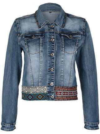 GHIACCIO&LIMONE Giacca di Jeans con Toppe fiorate Donna Blu