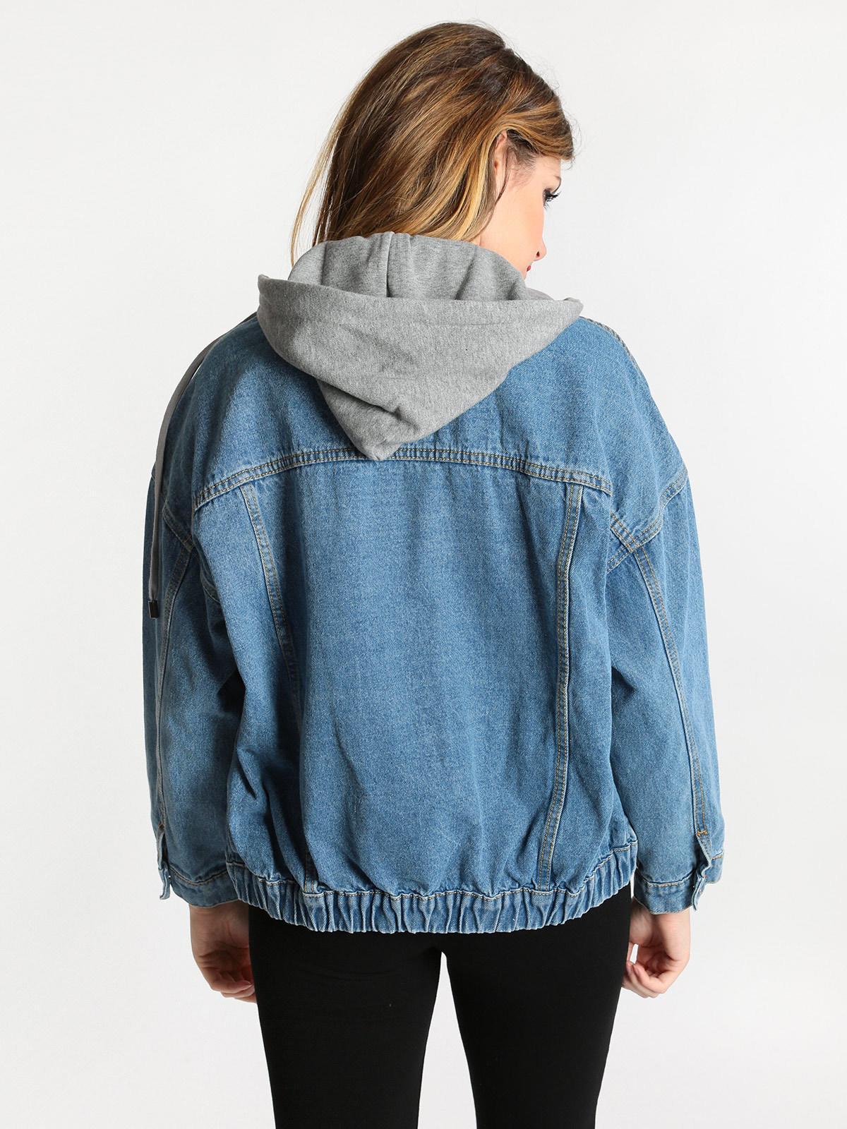 giacca di jeans con cappuccio