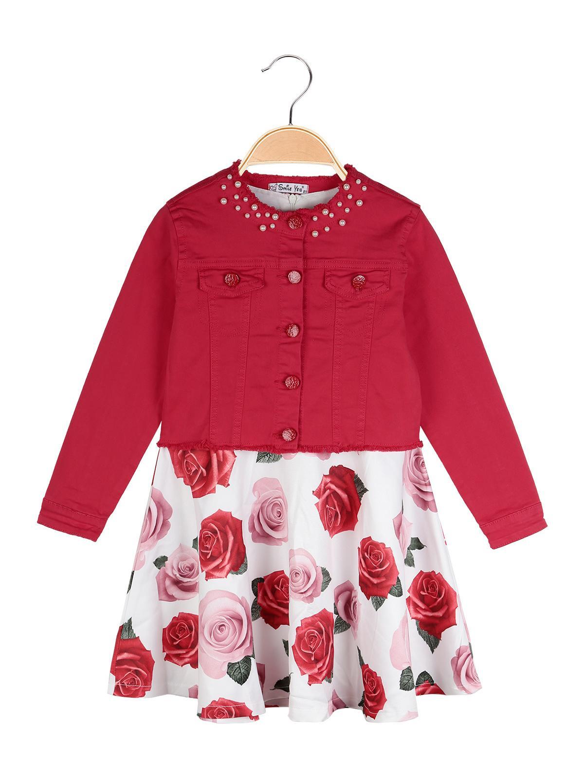 3e532affa3 Giacca di jeans rossa + vestito a fiori - completo 2 pezzi smile yes ...