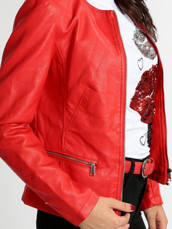 Giacca in ecopelle rosso con zip solada | MecShopping