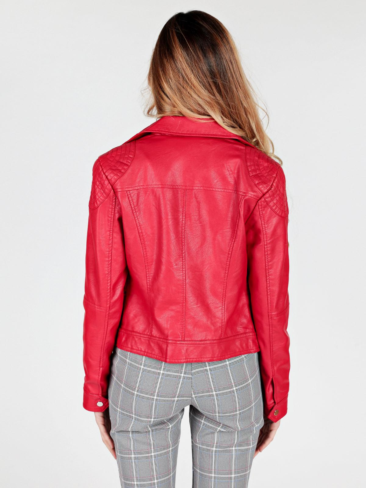 Giacca in ecopelle stile biker rosso solada | MecShopping