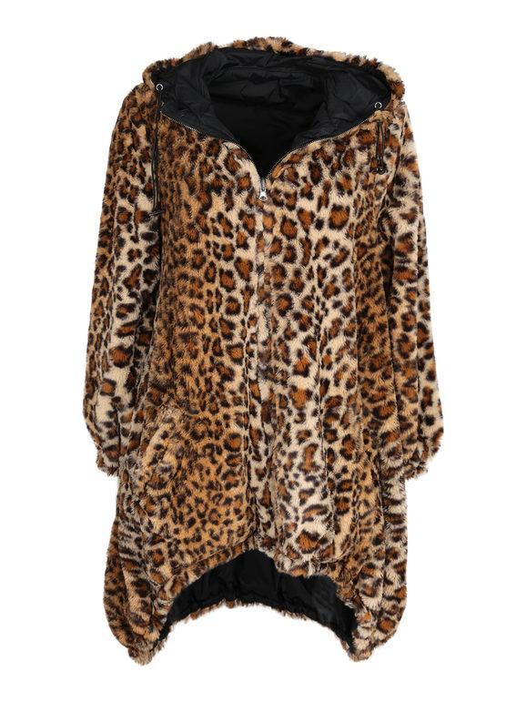 Giaccone reversibile con pelo leopardato