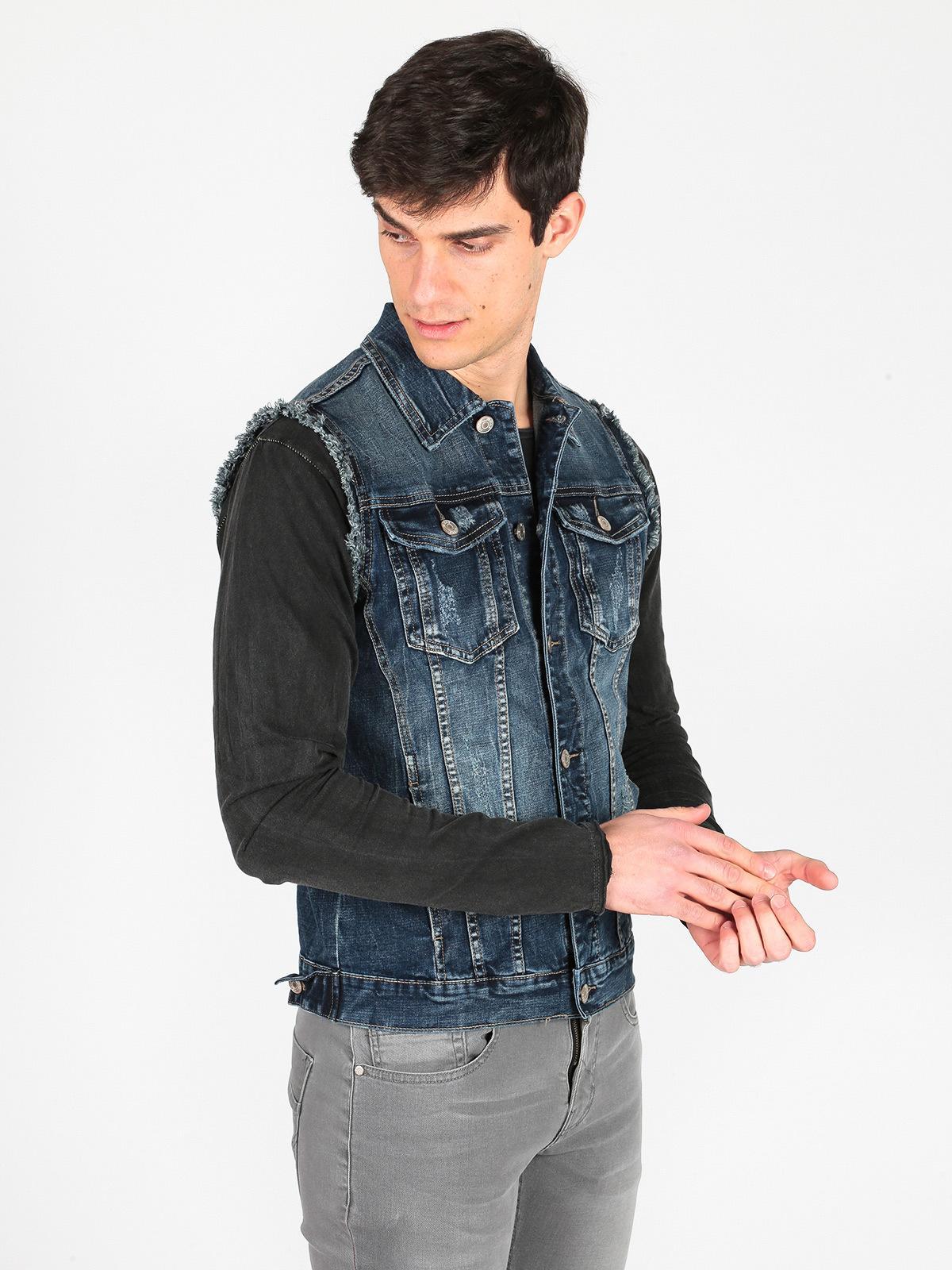 Gilet di jeans da uomo accross   MecShopping