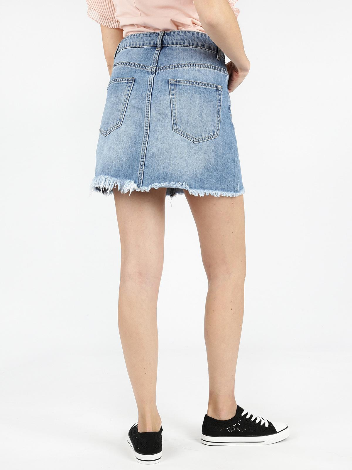 free shipping f8769 ee8f0 Gonna di jeans sfrangiata smagli | MecShopping