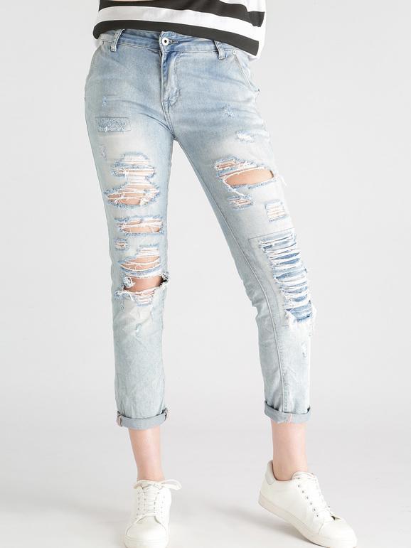 a32e73654b Jeans boyfriend strappati chiari miss two   MecShopping