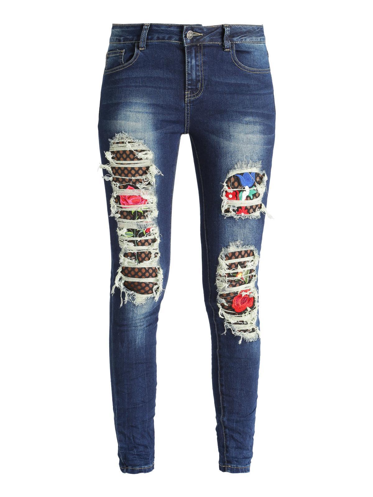 Jeans Rasgados Con Parches Florales En La Red Mujer Mecshopping