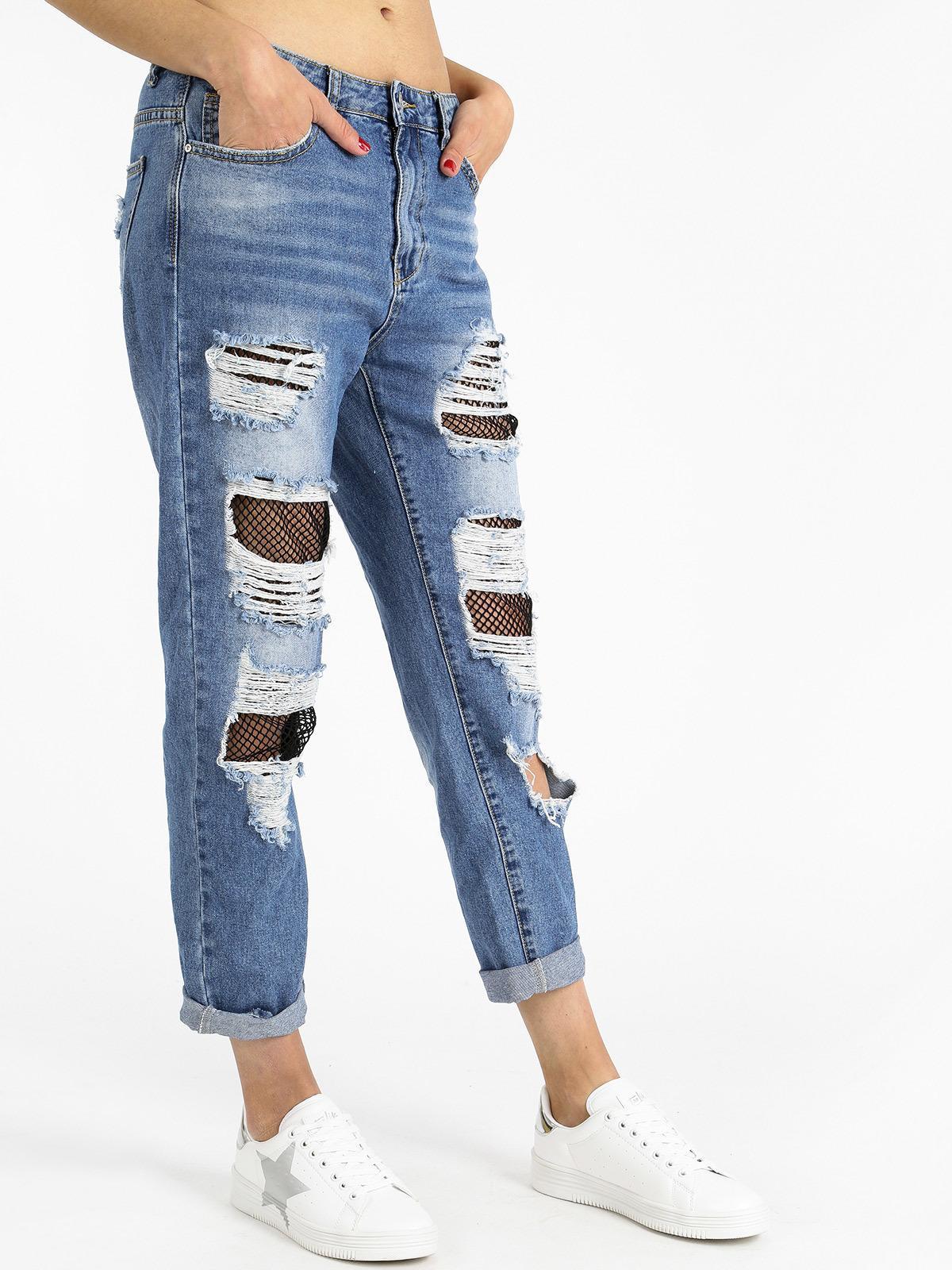 08f8b33aea Jeans strappati boyfriend con rete ghiaccio&limone   MecShopping