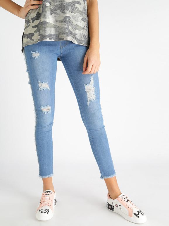 Jeggings con frange e strappi leggings in jeans Donna