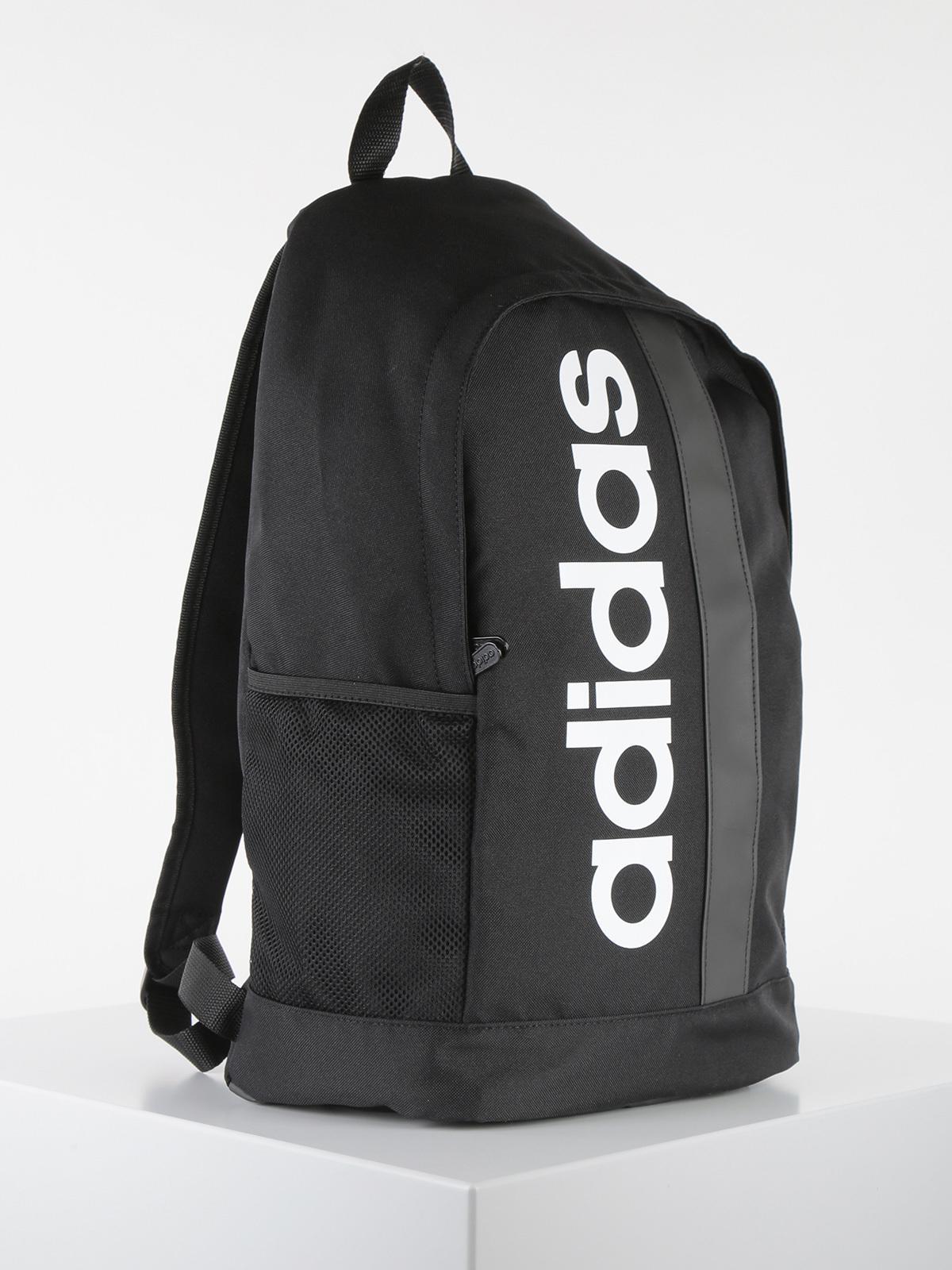 Linear core backpack zaino nero con logo stampato adidas