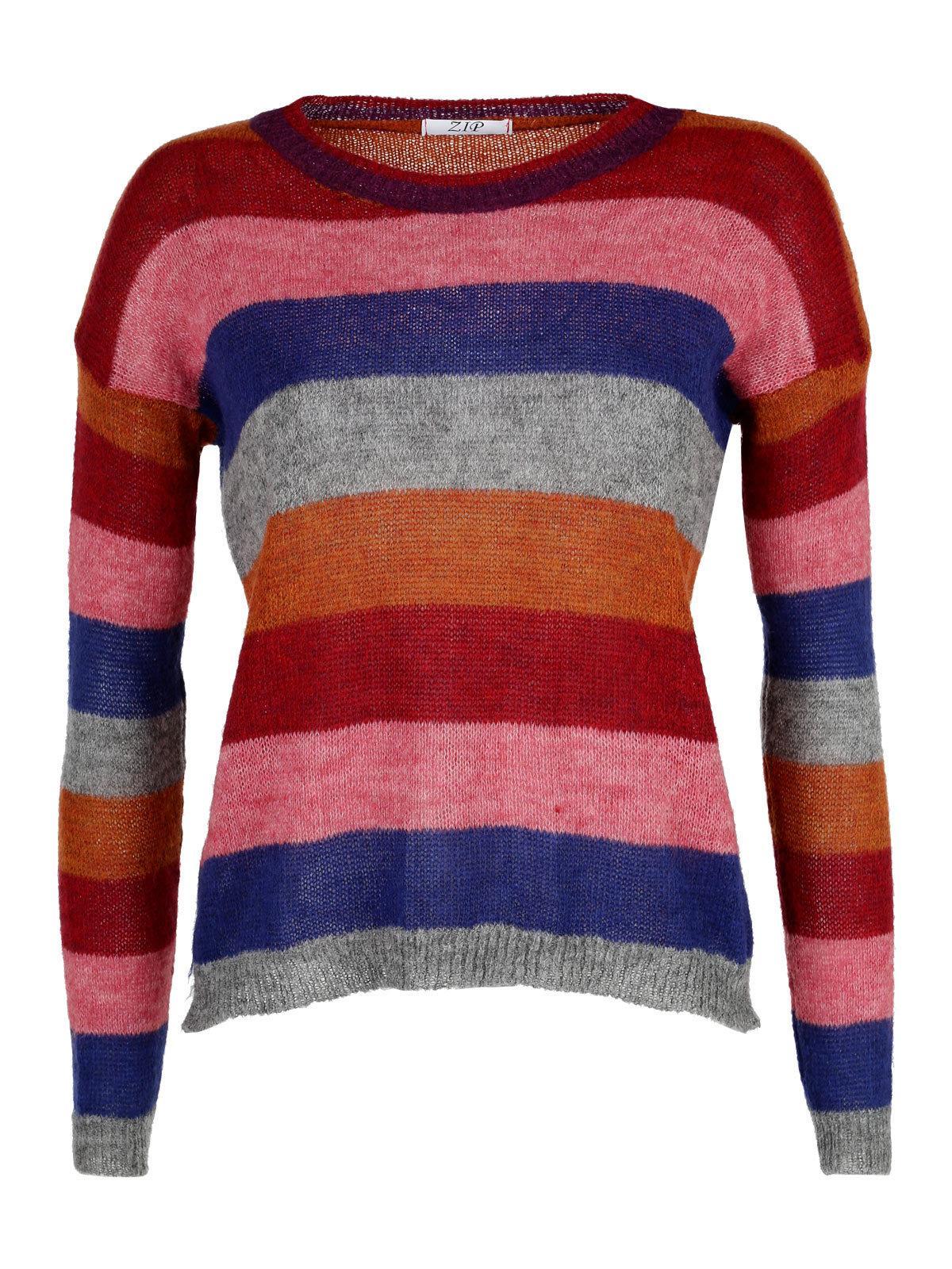 Maglione misto lana a righe zip | MecShopping