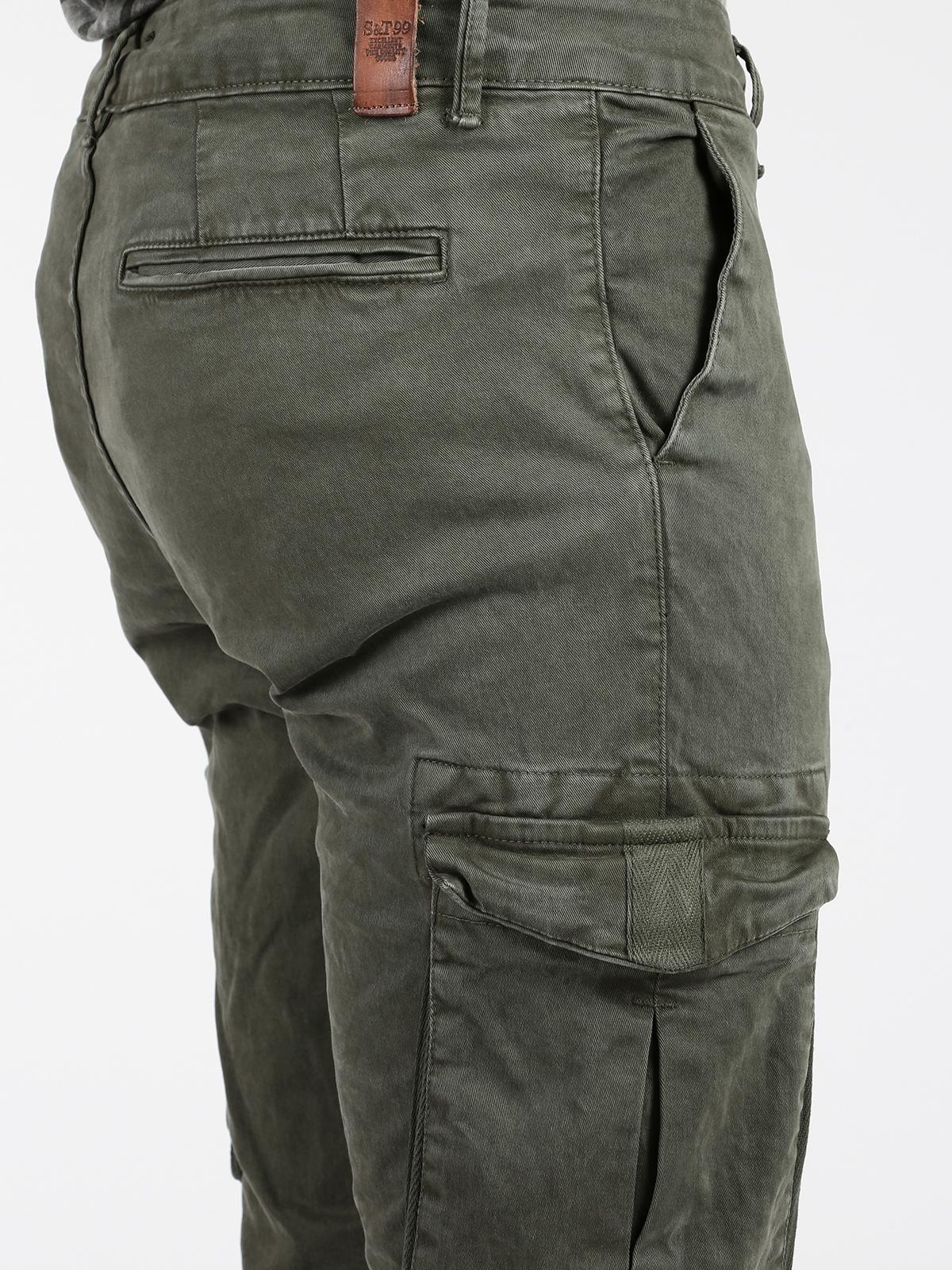 Pantalones Cargo En Algodon Verde Militar Hombre Mecshopping