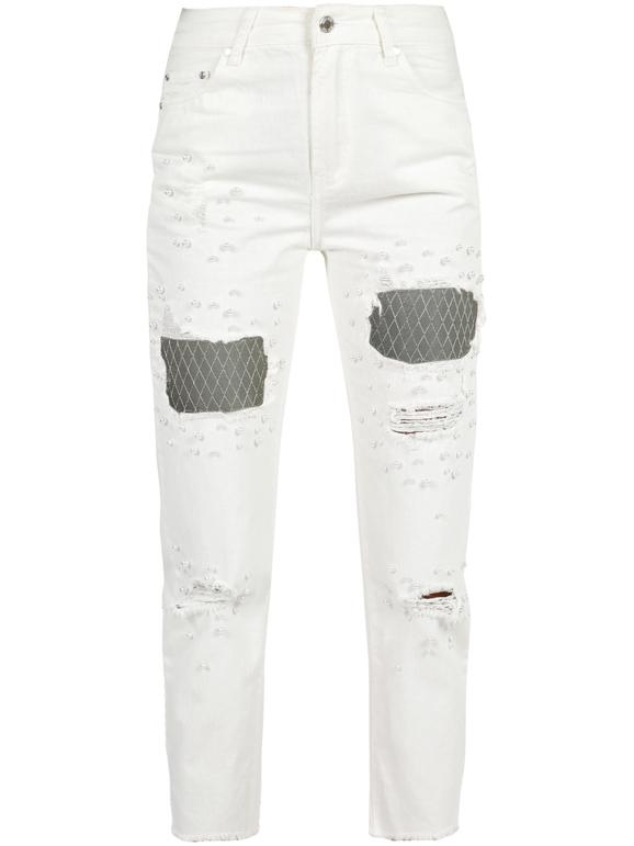 Pantalones Vaqueros Blancos Rotos Con Perlas Mujer Mecshopping