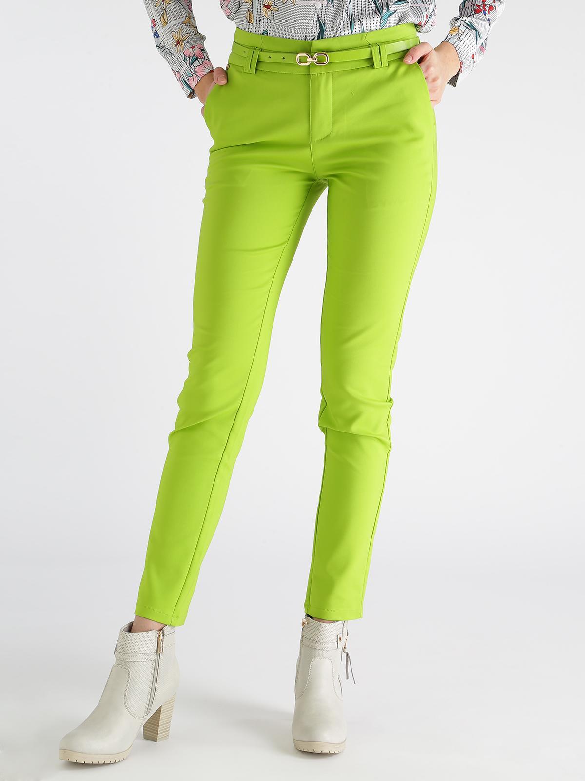 8414371dbd Pantaloni a sigaretta con cintura - verde acido freesia   MecShopping
