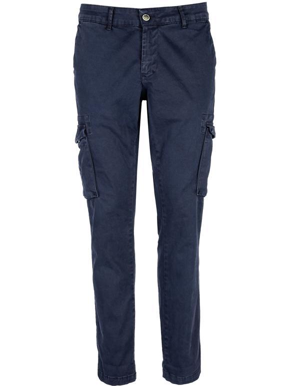 Pantaloni cargo in cotone - blu