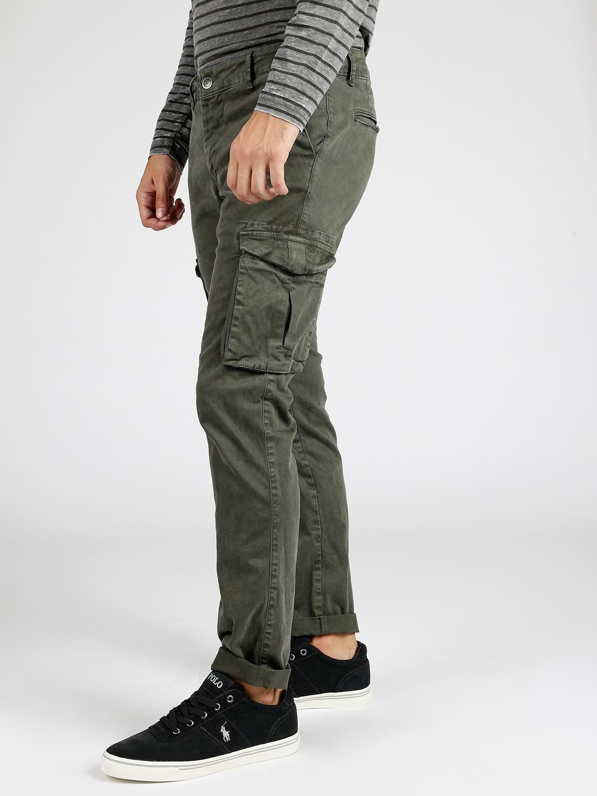 Pantaloni cargo in cotone verde militare s&t 99 | MecShopping