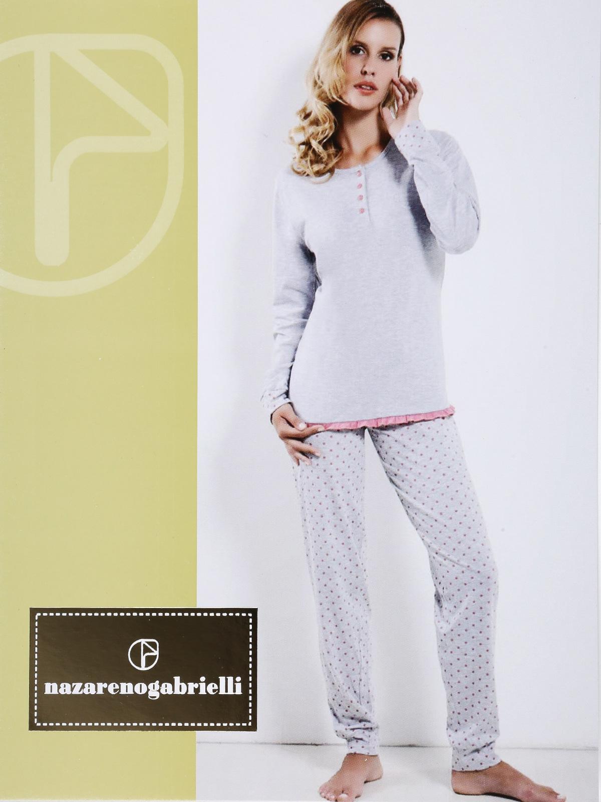 design senza tempo 3472c 5266d Pigiama lungo con pantaloni a pois nazareno gabrielli ...