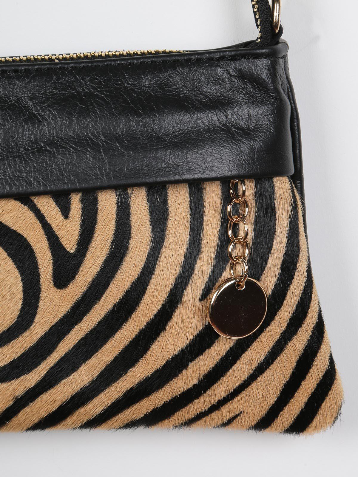 Pochette zebrata in pelle solada | MecShopping