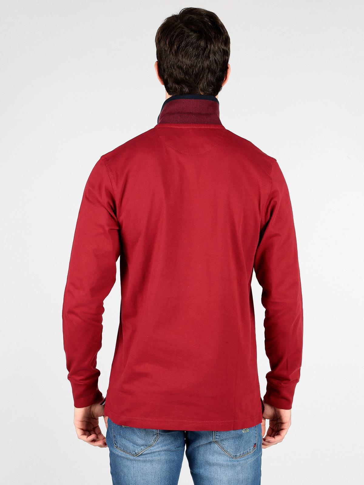 size 40 db1d8 1053f Polo a maniche lunghe con taschino - bordeaux be board ...
